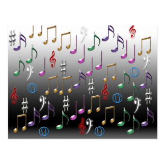 Notas musicais coloridas no fundo cinzento cartoes postais