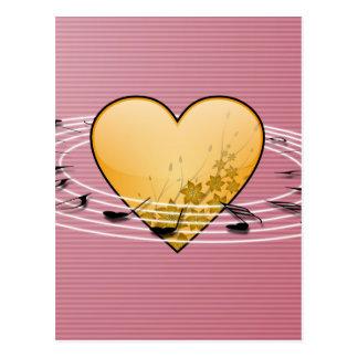 Notas musicais com design do coração cartão postal