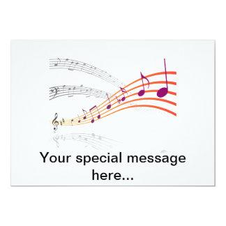 Notas musicais convite 12.7 x 17.78cm