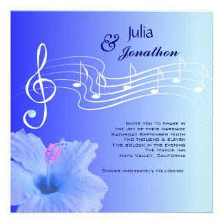 Notas musicais & convite do casamento do hibiscus