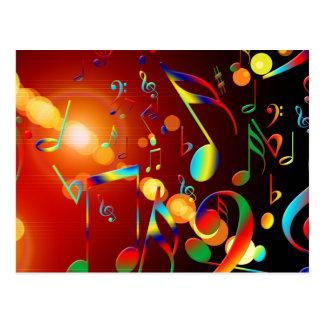 Notas musicais de dança cartão postal