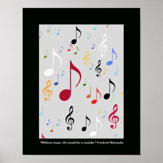 notas musicais de símbolos de música impressão