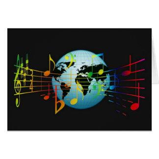 Notas musicais do mundo cartoes