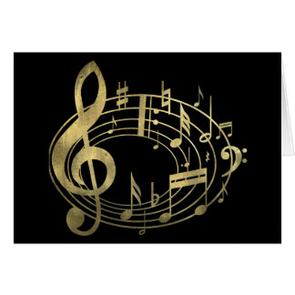 Notas musicais douradas na forma oval cartao