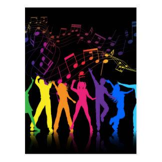 Notas musicais e dançarinos coloridos cartão postal