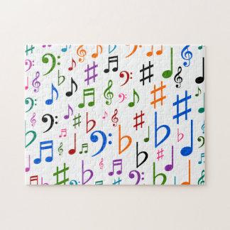 Notas musicais e símbolos coloridos quebra-cabeça