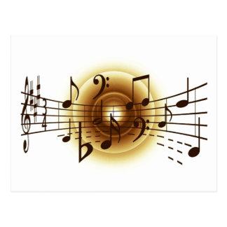Notas musicais elegantes cartão postal