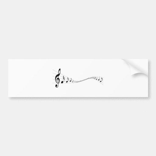 Notas musicais em um stave dado forma onda adesivo