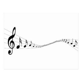 Notas musicais em um stave dado forma onda cartao postal