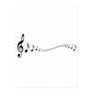 Notas musicais em um stave dado forma onda cartão postal