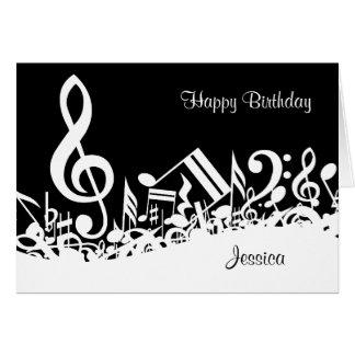 Notas musicais misturadas brancas personalizadas cartão comemorativo