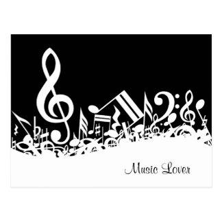 Notas musicais misturadas customizáveis preto e cartão postal