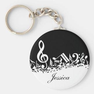 Notas musicais misturadas personalizadas preto e chaveiro