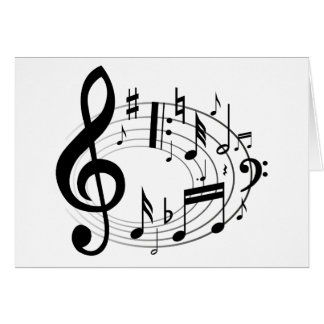 Notas musicais pretas na forma oval cartao