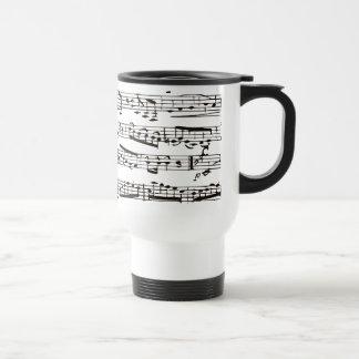 Notas musicais preto e branco caneca térmica