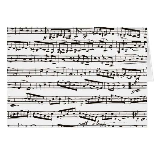 Notas musicais preto e branco cartão