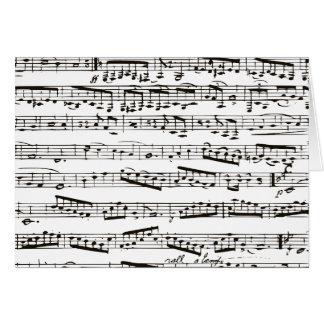 Notas musicais preto e branco cartão comemorativo