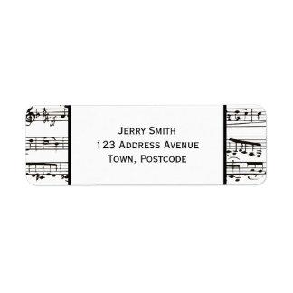 Notas musicais preto e branco (grande texto) etiqueta endereço de retorno