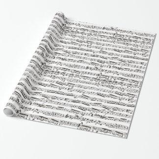 Notas musicais preto e branco papel de presente