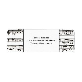 Notas musicais preto e branco (texto pequeno) etiqueta endereço de retorno