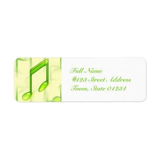 Notas musicais que enviam etiquetas etiqueta endereço de retorno