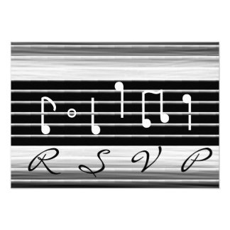 Notas musicais RSVP das cerdas Convites Personalizados
