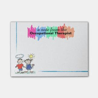 Notas pegajosas coloridas do terapeuta ocupacional bloquinho de notas