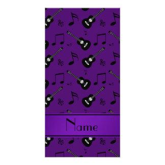 Notas pretas roxas conhecidas feitas sob encomenda cartão com foto personalizado