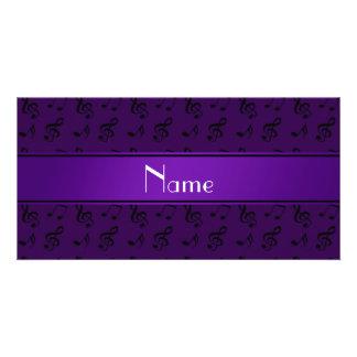 Notas roxas conhecidas personalizadas da música cartão com foto