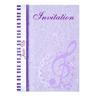 Notas roxas Keys_Invitation da música Convites Personalizado