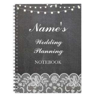 Notas rústicas do laço do giz do planeamento do cadernos espiral