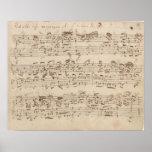 Notas velhas da música - folha de música de Bach Posteres