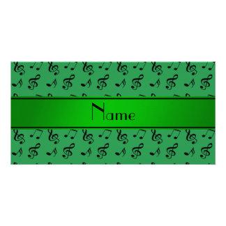 Notas verdes conhecidas personalizadas da música cartoes com foto personalizados