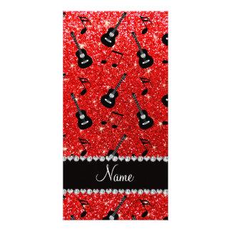 Notas vermelhas de néon conhecidas da música das cartão com foto