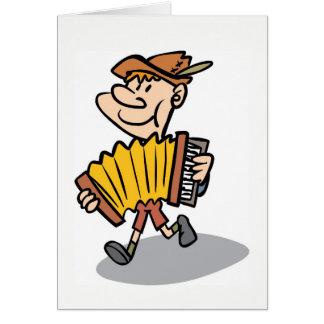 Notecard do jogador do acordeão de piano, cartão