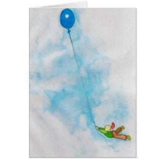 notecard do menino do aniversário do balão cartão de nota