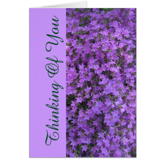 """notecard floral, """"pensando de você"""" rhodod de cartão"""