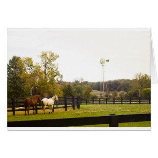NOTECARD que mostra cavalos e um moinho de vento Cartoes