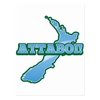 NOVA ZELÂNDIA com um mapa ATTABOI! Cartão Postal