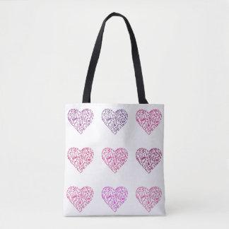 Nove corações da música notam a sacola bolsa tote
