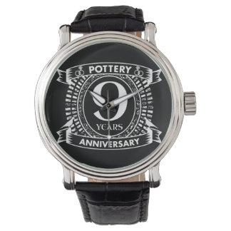 Nove da cerâmica anos de aniversário de casamento relógio