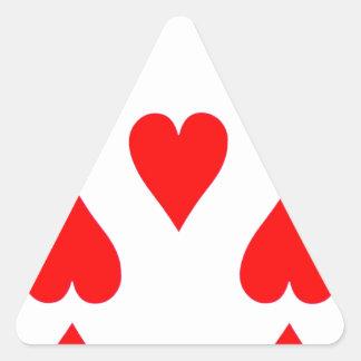 Nove do cartão de jogo dos corações adesivo triangular