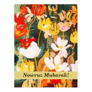 Nowruz Mubarak. Cartão persas do ano novo