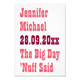 Nuff disse economias engraçadas o cartão do convite 8.89 x 12.7cm