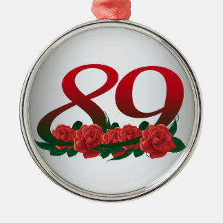 numere 89/as flores vermelhas 89th aniversário ornamento de metal