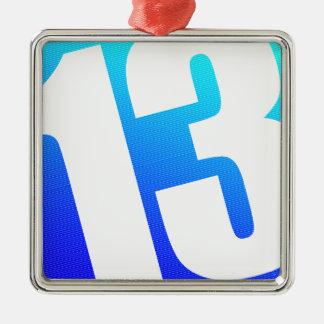 Número 13 ornamento quadrado cor prata