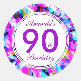 Número 90 - Etiqueta redonda do aniversário