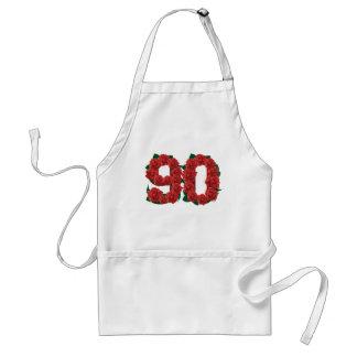 Número 90 ou rosas vermelhas do aniversário do 90 avental
