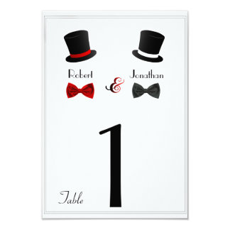 Número alegre da mesa do casamento dos chapéus convite 8.89 x 12.7cm