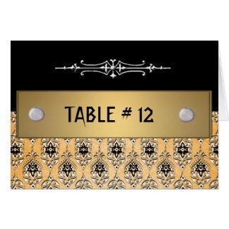 Número amarelo da mesa do casamento tema damasco cartao